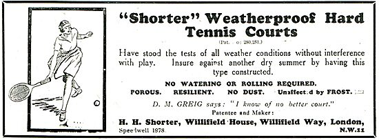 H.H.Shorter Weatherproof Tennis Courts For Clubs