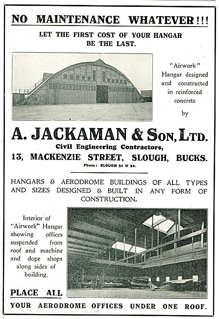 A.Jackaman & Son Ltd Slough. Hangars & Aerodrome Buildings