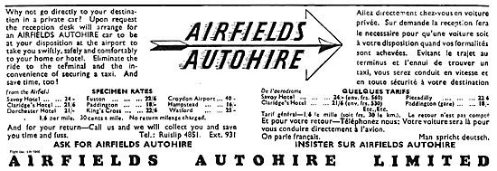 Airfields Autohire. Typical Rates To London Hotels