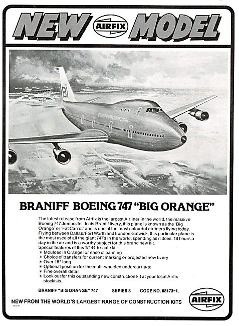 Airfix 1/44th Scale Braniff Boeing 747