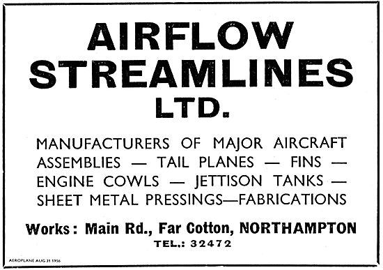 Airflow Streamlines. Manufacturers Of Major Aircraft Assemblies