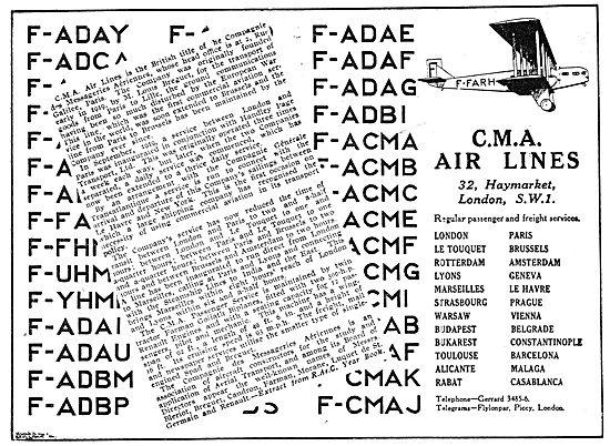 C.M.A . Air Lines. Regular Passenger & Freight Services