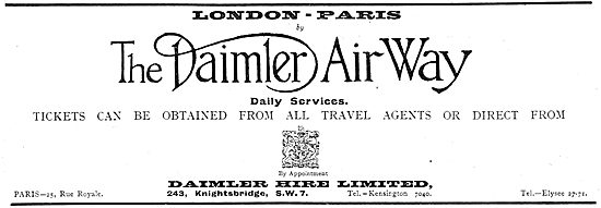 London To Paris Daily With The Daimler Air Way.