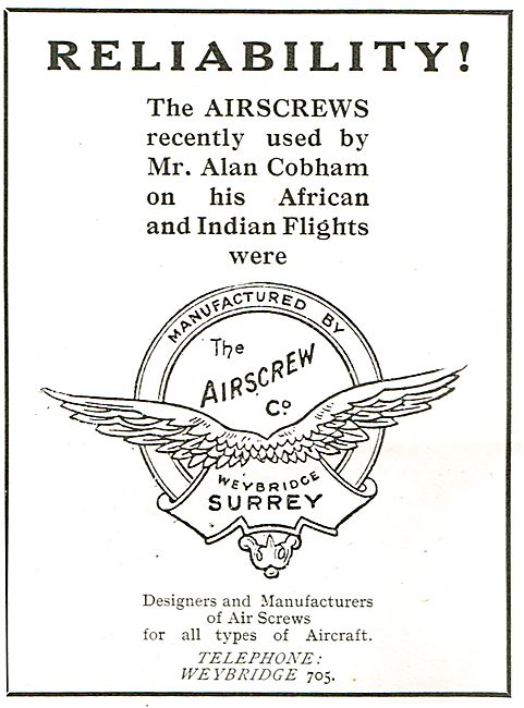 Airscrew  Co Propellers Used On Cobham's African Flight