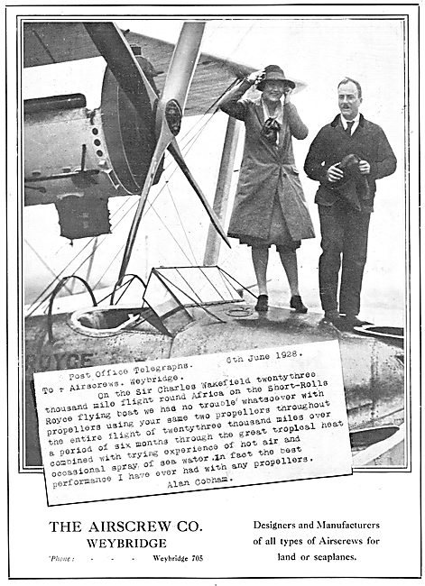 The Airscrew Company. Weybridge. Aircraft Propellers 1929