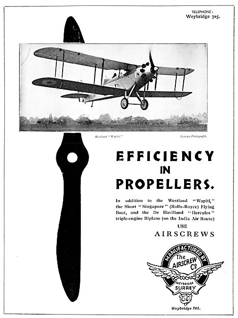 Airscrew Co Weybridge Airscrew Propellers