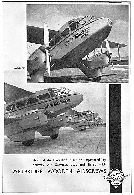 Airscrew Co Wooden Airscrews - Railway Air Services
