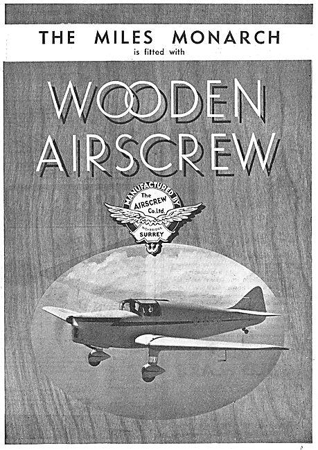 Airscrew Co Wooden Airscrews - Miles Monarch