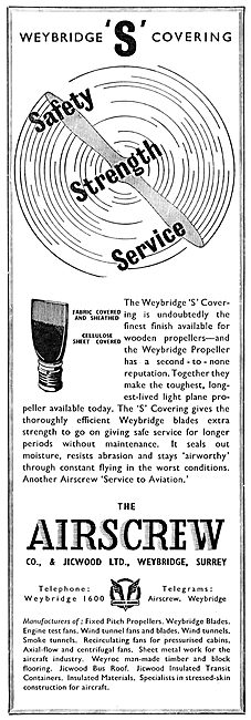 Airscrew Jicwood Weybridge 'S' Propeller Covering