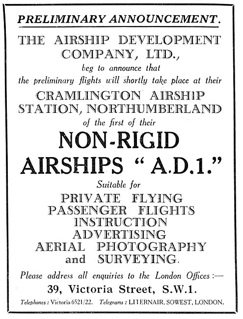 The Airship Development Company Non-Rigid Airship A.D.1.