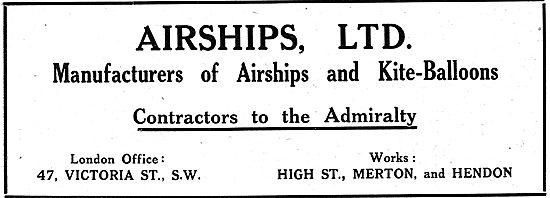 Airships Ltd. Manufacturers Of Airships & Kite-Balloons