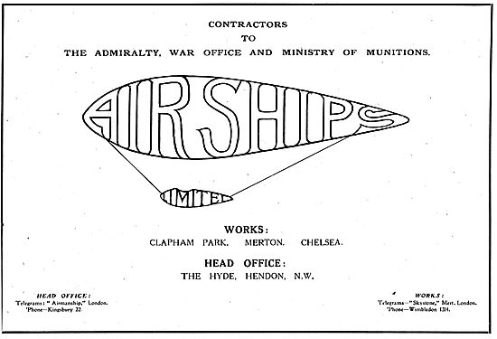 Airships Ltd. Hendon.  Manufacturers Of Airships & Kite Balloons.
