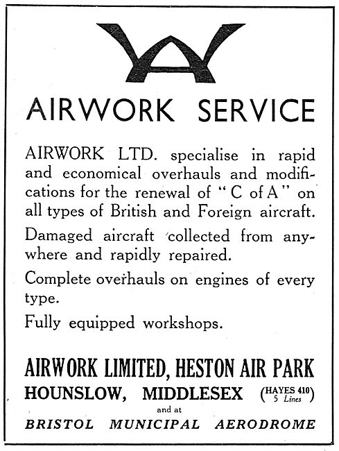 Airwork At Heston For Your Aircraft CofA