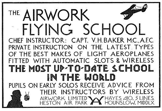 The Airwork Flying School At Heston.  CFI Capt V.H.Baker