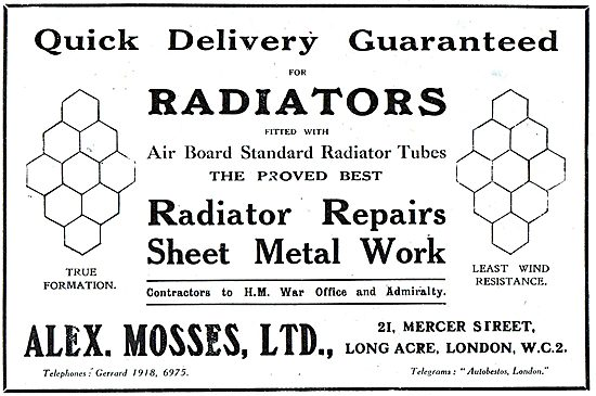 Alex Mosses Ltd - Aircraft Radiators, Sheet Metal Work.