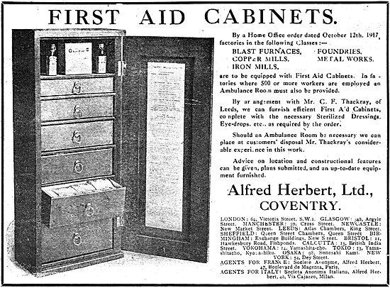Alfred Herbert Ltd. Aircraft Factory First Aid Cabinets