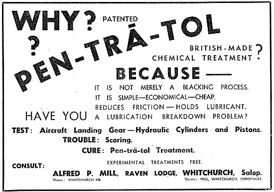 Alfred P.Mill : PEN-TRA-TOL Pentratol Lubrication Treatment 1942