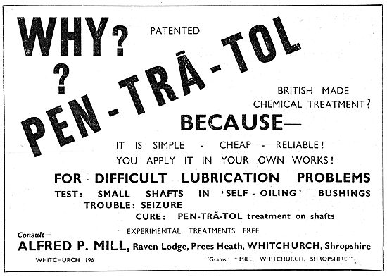 Alfred P.Mill : PEN-TRA-TOL  Pentratol Lubricant 1943