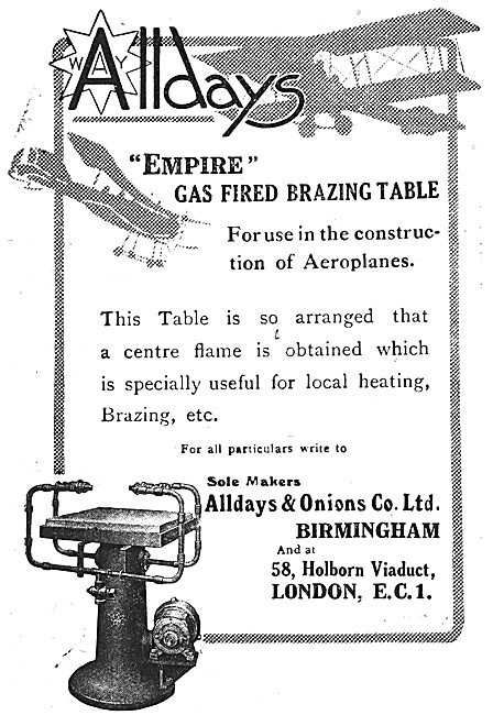 Alldays & Onions Ltd. Smethwick Gas Fired Brazing Table