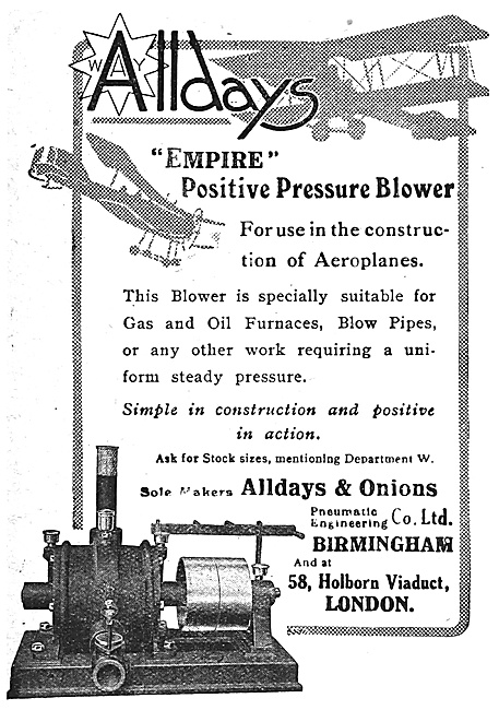 Alldays & Onions Ltd. Positive Pressure Blower