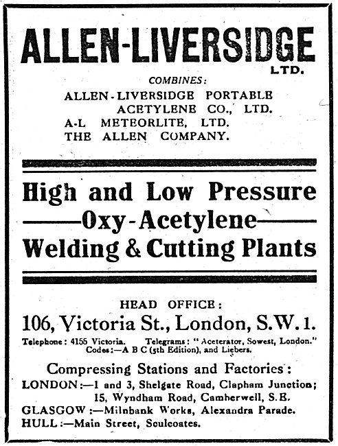 Allen-Liversidge - Oxy-Acetylene Welding & Cutting Plants