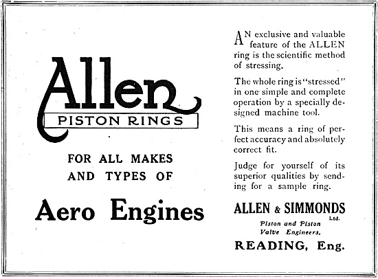 Allen & Simmonds Piston Rings For Aero Engines 1918