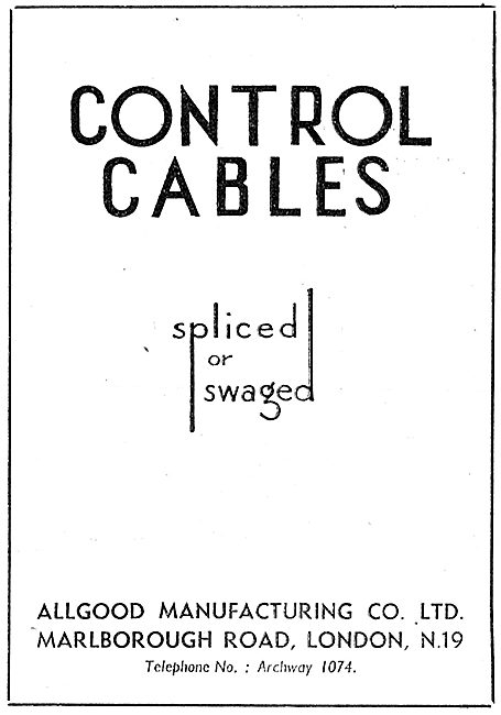Allgood Manufacturing Co. London N.19. Control Cables