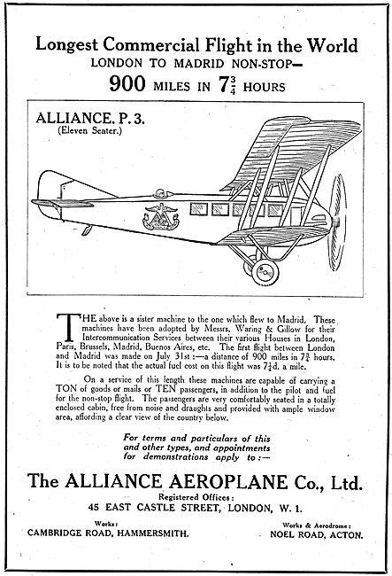 The Alliance Aeroplane Co P3 11 Seater Aeroplane