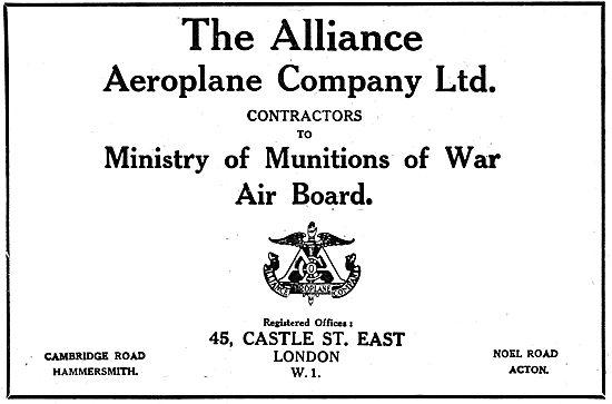 The Alliance Aeroplane Company - 1918 Advert