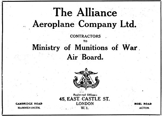 The Alliance Aeroplane Co Contractors To Munitions Ministry