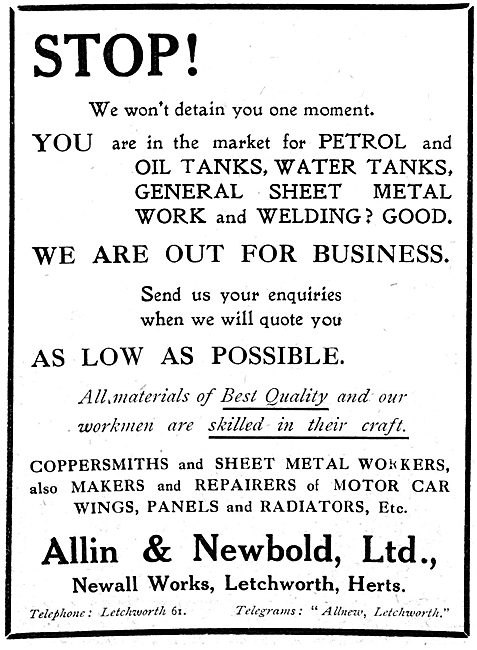 Allin & Newbold - Coppersmiths & Sheet Metal Workers