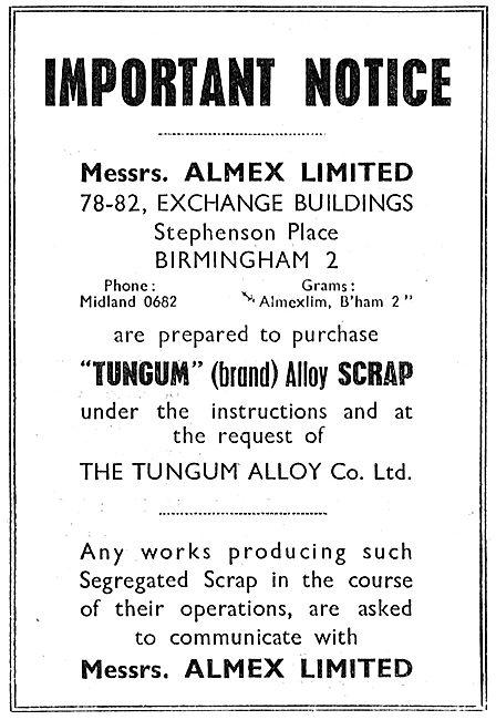 Almex  Tungum Alloy Scrap Recyclers