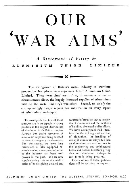 Aluminion Union - Aluminium Distributors 1939
