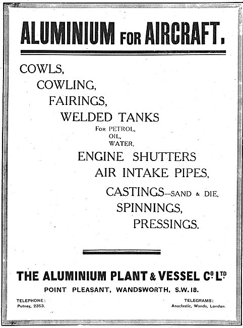 The Aluminium Plant & Vessel Co - Aluminium For Aircraft