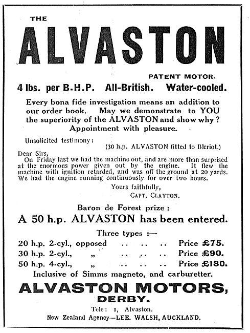 Alvaston Aeroplane Motors - 4lbs Per BHP Water Cooled