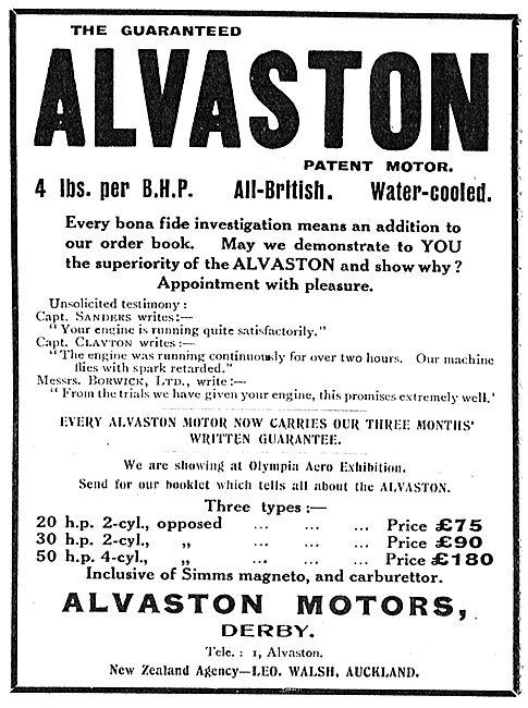 Alvaston 2 & 4 Cylinder  Aeroplane Motors. £75-180.