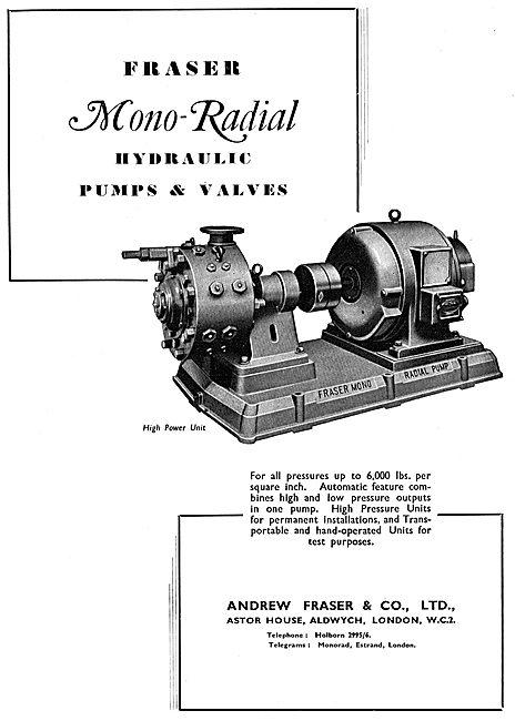 Fraser Industrial Hydraulic Pumps & Valves 1942 Advert