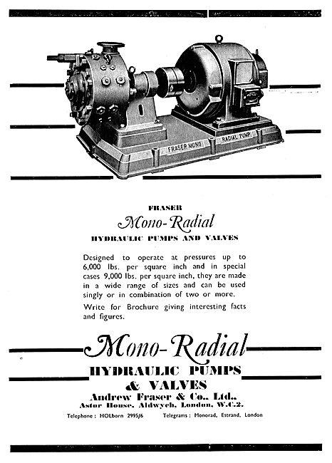 Fraser Industrial Hydraulic Pumps & Valves 1943 Advert