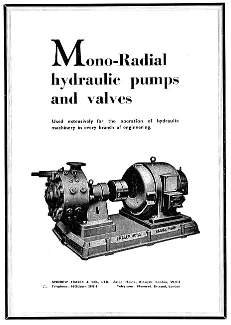 Fraser Industrial Mono-Radial Hydraulic Pumps & Valves
