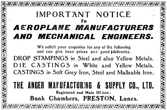 Anger Manufacturing & Supply Co. Preston.  Aeronautical Engineers