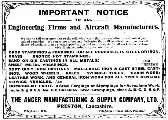 Anger Manufacturing & Supply Company.  Aeronautical Engineers