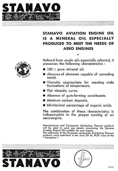 Anglo-American Oil Co - Stanavo  Aircraft Fuels & Oils
