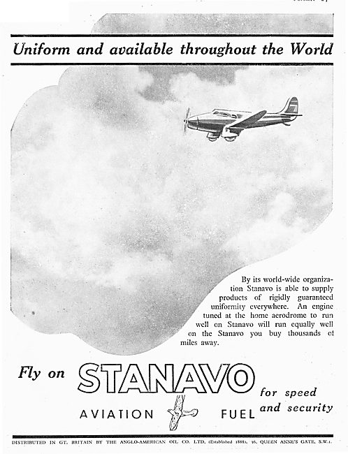 Anglo-American Oil Co - Stanavo Aviation Fuel
