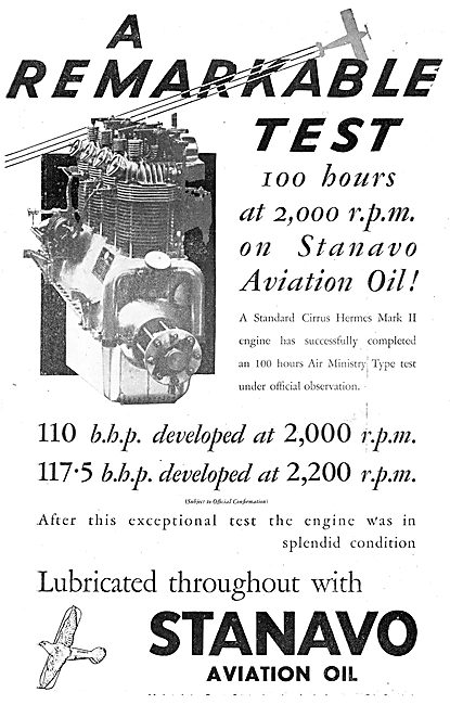 Anglo-American Oil Co - Stanavo Aviation Oil