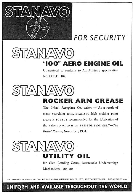 Anglo-American Oil Co - Stanavo 100 Aero Engine Oil : DTD 109