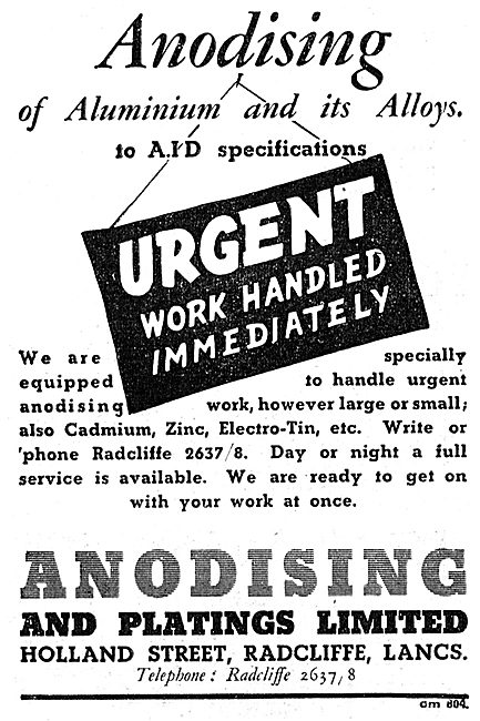 Anodising & Platings Ltd. Holland St, Radcliffe Lancs 1943 Advert