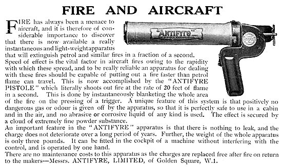 Antifyre Pistole Aircraft Fire Extinguisher 1929