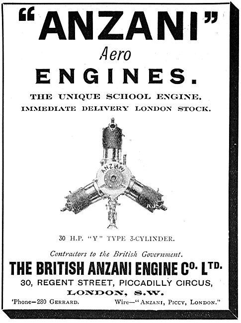 British Anzani 30 H.P. 3 Cylinder 'Y' Type Aero Engines