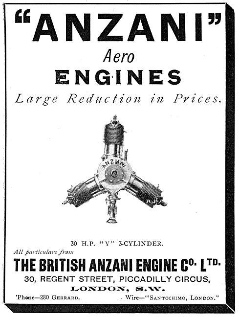 British Anzani 30 H.P. 3 Cylinder Aero Engine