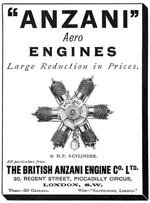 British Anzani 45 H.P. 6 Cylinder Aero Engines